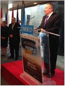 Photo: Rabbi Hier at podium, UNESCO Director General Irina Bokova (left) and Israel's Ambassador to UNESCO Nimrod Barkan