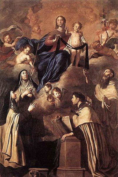 Pietro Novelli (1603-1647) - Notre-Dame du Mont-Carmel et les saints du Carmel (saints Simon Stock, Ange de Jérusalem, Madeleine de Pazzi et Thérèse d'Avila) - œuvre réalisée en1641