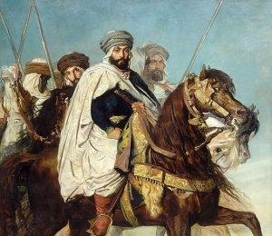 Théodore Chassériau, « Le Khalife de Constantine Ali Ben Hamet, chef des Karachas, suivi de son escorte », 1845.