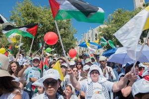 Bethléem, place de la Nativité aux couleurs de la Palestine pour accueillir le pape François ©AOCTS/Nadim Asfour