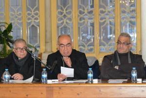 Mgr Georges Abou-Khazen au centre, de passage au couvent franciscain de Beyrouth. © CTS/Beyrouth
