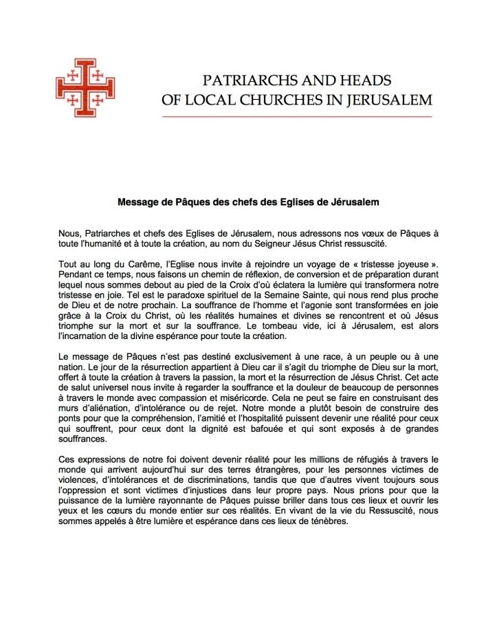 Message Pâques 2016 Chefs Eglises Jerusalem